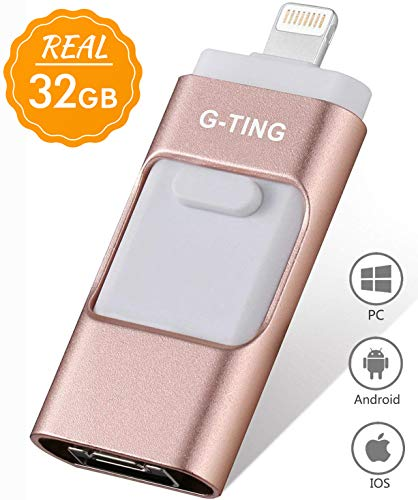 USB Flash Drives for iPhone 32 GB Pen-Drive Memory Storage, G-TING Jump Drive Lightning Memory Stick External Storage, Memory Expansion for Apple iOS Android Computers (Pink) ... (Best Pendrive For Iphone)