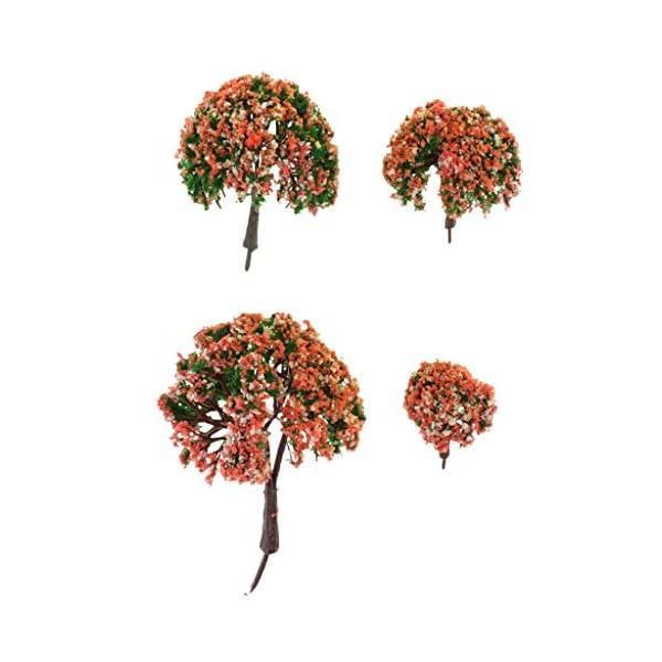 IPOTCH 4pcs Miniature Trees Model Plants Multi Scale Train