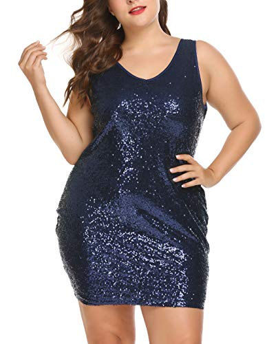 IN'VOLAND Plus Size Sequin Glitter Dress Party Cocktail Dresses V Neck Sleeveless Sexy Dress Blue
