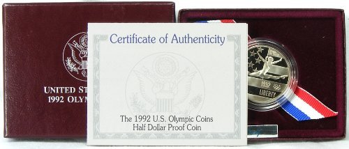1992 Proof Olympic Commemorative Half Dollar with Box