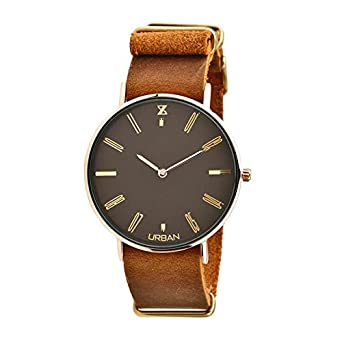 Uhr Zzero Urban zu008d Quarz (Batterie) Stahl vergoldet gelb Quandrante braun Armband Leder