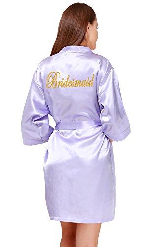 GoldOath Short Kimono Stain Robe Women DIY Gold Glitter Maid Honor &Bride, Bridal Wedding Robes