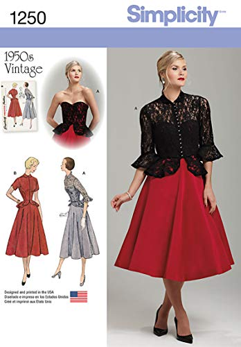 ntage Pattern 1250 Misses One Piece Dress and Jacket Sizes 6-8-10-12-14 ()