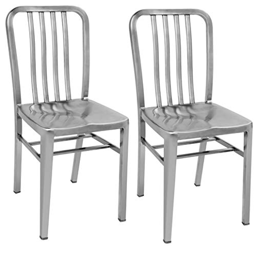 IRICA Stainless Steel Dining Chair, Set of 2, Commercial Quality, Satin Brushed Finish, 18 inches Seat Hgt, Indoor Porch Use.