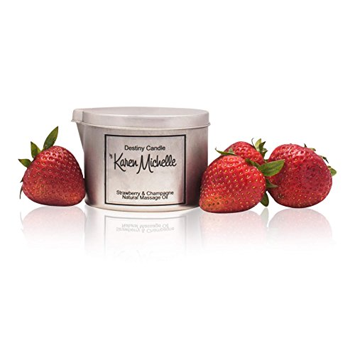 Strawberry Champagne Scented Massage Oil Candle - Aromatherapy   Destiny Candle by Karen Michelle   Beautiful Piece of Jewelry Inside   Rekindle The Romance