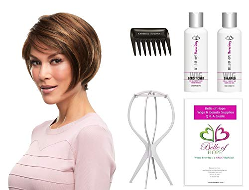 (Gabrielle Petite - Synthetic Lace Front Hand tied Single Mono. Wig by Jon Renau,Stand,Comb,Mara Ray 4oz Luxury Shamp/Cond. Kit,19 Page Belle of Hope Wig Care Book-6pc Bundle (FS26/31) )
