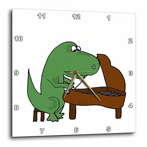 3dRose Fun Green T-rex Dinosaur Playing The Piano - Wall Clock, 10 by 10-Inch (DPP_201827_1)