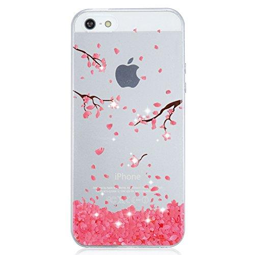 vanki Coque iPhone 5/5S/SE, Motif Plantes  Fleurs Housse Transparente, Housse TPU Souple Etui de Protection Silicone Case Soft Gel Cover Anti Rayure Anti Choc pour Iphone5/5S/SE 16