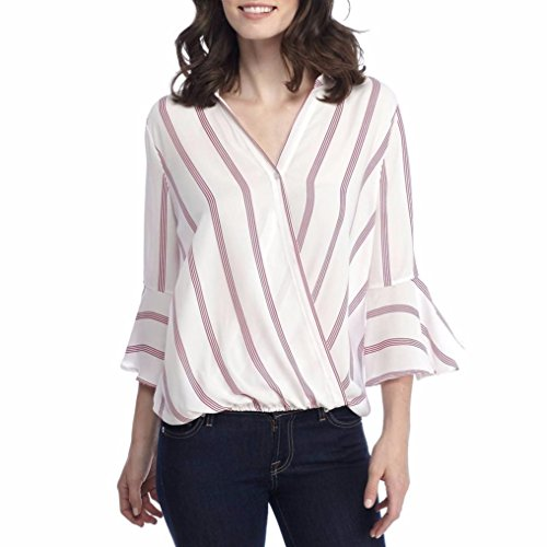 Sinma Buttons Blouse, Casual Lapel V Neck Shirt Stripe Flare 3/4 Sleeve Tops For Women (S, Red) by Sinma