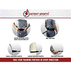 INTENT SPORTS 360° Dynamic Speed Resistance and Assistance Trainer Kit 8 Ft. Strength 80 Lb Resistance Running Bungee Band (Waist). Solo or Partner. Multi-Sport Maximize Power, Strength, Speed! eBook!