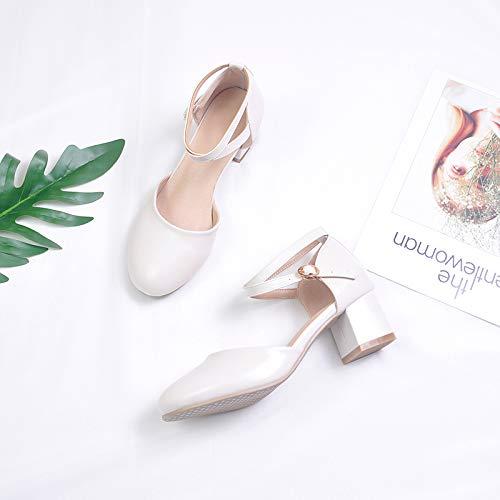 Sandalias Con Estudiantes Hadas Dama Moda Zapatos Alto Verano Creamy Rosa White Retro Tacón Frescas Chicas De Pequeñas Yukun Honor wX0nIFYq4n