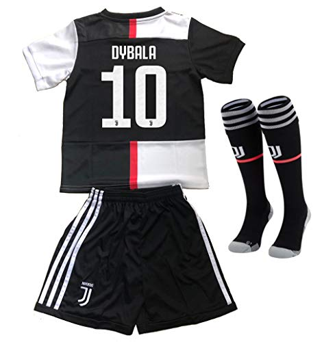Ofworks56 Juventus 2019/2020 New Season 10 Dybala Kids/Youths Home Soccer Jersey & Shorts & Socks Black/White Size(10-11Years)