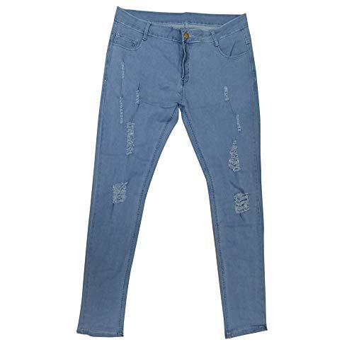 Skinny Mezclilla Pantalones Pantalones Slim Vaqueros Pantalones Jeans Vaqueros Pitillo de Rotos de Fit Elásticos Oscuro Baja Cintura Largos 4XL Azul de Delgados Hombre LILICAT 8ZnXnq