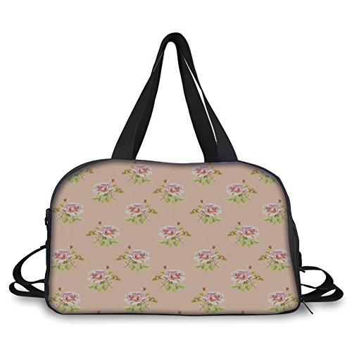 Travelling bag,Roses Decorations,Nostalgic Floral Endless Pattern with Pale Colored Flowers Wedding Loved One Print,Pink Green ,Personalized by iPrint