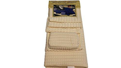 "6PC Microfiber Kitchen Set, 1 Drying Mat 16""x24"", 2 Towels 16""x19"", 2 Dish Cloths, 14""x14"", 1 Scrubber Sponge, Cream"