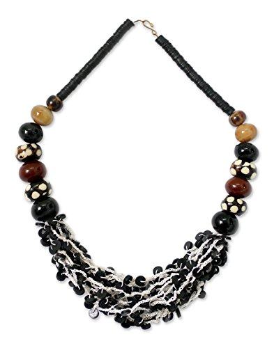 NOVICA Brass Coconut Shell Horn Cow Bone Beaded Necklace, 24'' 'Zebra' by NOVICA