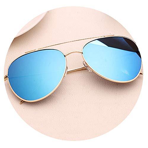 Fashion Aviator Sunglasses Women Men Male Sun Glasses For Women Lady Sunglass Female Mirror Glasses,Blue