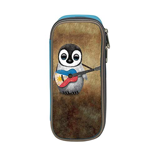 Baby Penguin Playing Canadian Flag Acoustic Guitar Pencil case Pen Bag Makeup Pouch Student Large Capacity Zipper Multifunction Blue
