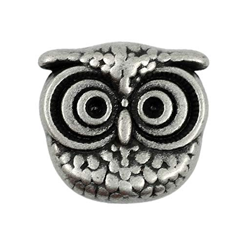 Bezelry 12 Pieces Cute Owl Antique Silver Color Metal Shank Buttons 15mm (Antique Silver)