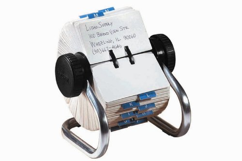 Rolodex 66706 Rolodex Open Rotary Card File, 500 2-1/4 x 4 Cards, 24 Guides, Chrome Finish by Rolodex