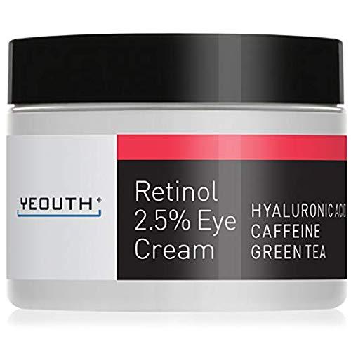 Retinol Eye Cream 2.5% from YEOUTH Boosted w/Retinol, Hyaluronic Acid, Caffeine, Green Tea, Anti Wrinkle, Anti Aging, Firm Skin, Even Skin Tone, Moisturize and Hydrate (Best Retinol Eye Products)