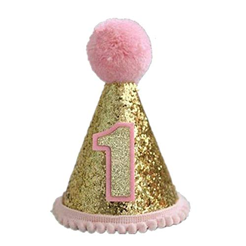 (ZILucky Infant Baby Boys Girls' 1st Birthday Party Sparkly Mermaid Tail Cone Hats Princess Cake Smash Pictures Decoration (Pink Gold Cone))
