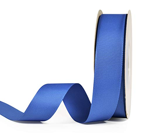 (YAMA Solid Grosgrain Ribbon Roll - 1 Inch 25 Yards for Gift Wrapping Ribbons, Royal Blue)