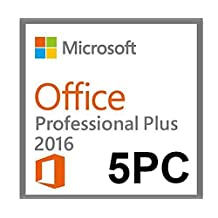 Microsoft Office 2016 Professional Plus 5 PC medialess