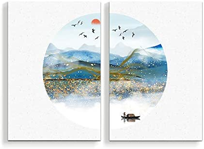 2 Panel Chinese Traditional Landscape Painting Home Wall for Bedroom Living Room Paintings Framed x 2 Panels