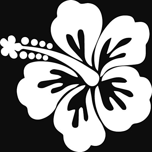 ANGDEST Hibiscus Flower (White) (Set of 2) Premium Waterproof Vinyl Decal Stickers for Laptop Phone Accessory Helmet Car Window Bumper Mug Tuber Cup Door Wall - Helmet Flowers White