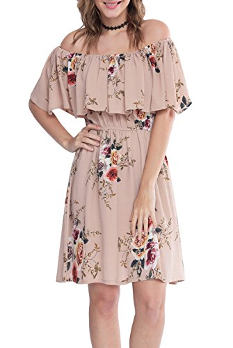 Zattcas Womens Shoulder Ruffle Floral