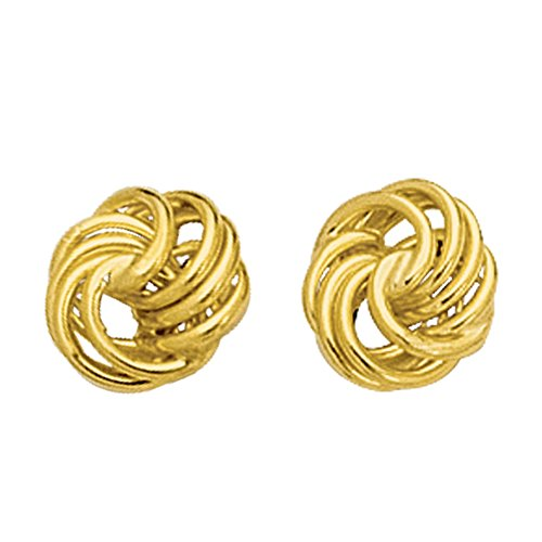 14k Gold Shiny Textured 4 Row Love Knot Stud Earrings, 10mm