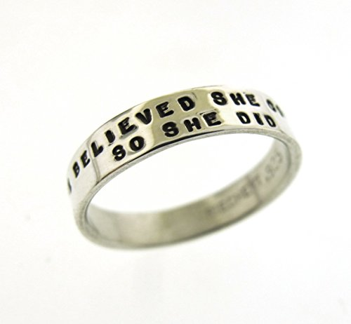 She Believed She Could, So She Did, sterling silver hand stamped ring