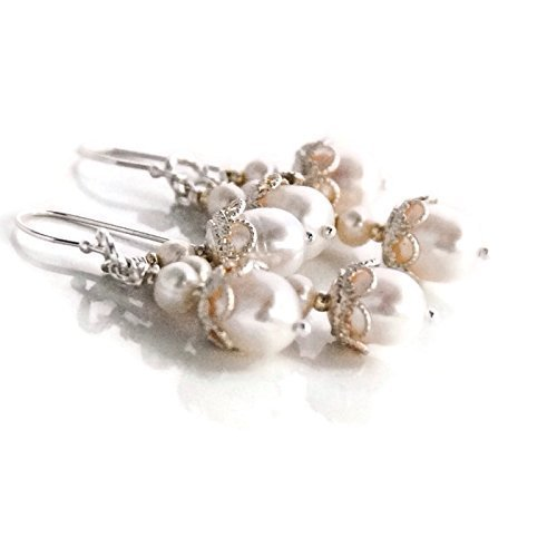 Sterling Silver Creamy White Cultured Freshwater Pearl Drop Cascade Earrings Wedding Bridal Jewelry Gift for Mother's Day Sale - Freshwater Pearl Chandelier Earrings