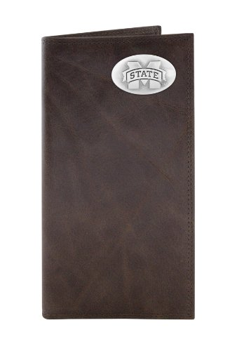 Mississippi State Bulldogs Wallet - NCAA Mississippi State Bulldogs Zep-Pro Wrinkle Leather Roper Concho Wallet (Brown)