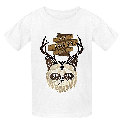 [Grumpy Cat W97 Girls Crew Neck Graphic T-shirt White] (Minions Movie Minion Hooded Tank Dress)