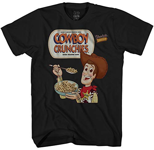 Disney Toy Story Woody Cowboy Crunchies Men's Adult Graphic Tee T-Shirt (Black, Large) ()