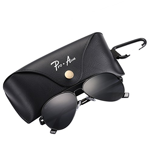 Pro Acme Small Polarized Aviator Sunglasses for Adult Small Face and Junior,52mm (Black Frame/Black Lens)