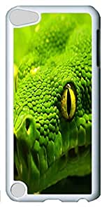 Fashion Customized Case for iPod Touch 5 Generation White Cool Plastic Case Back Cover for iPod Touch 5th with Fearsome Snake