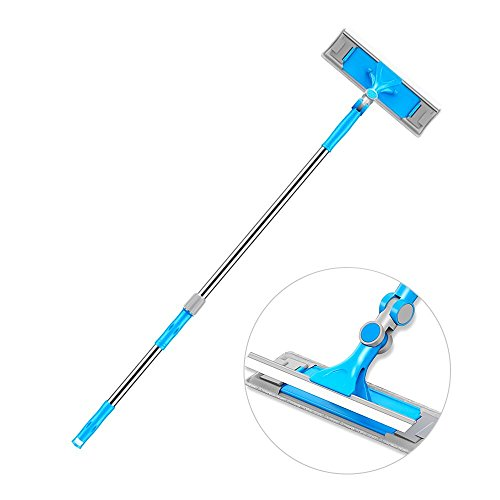 Extendable Window Squeegee Cleaning Tools - Window Washing Equipment with Extension Pole and Microfiber Glass Washer, Professional Window Cleaner Kit for Shower & Car Windshield & Outdoor High Windows