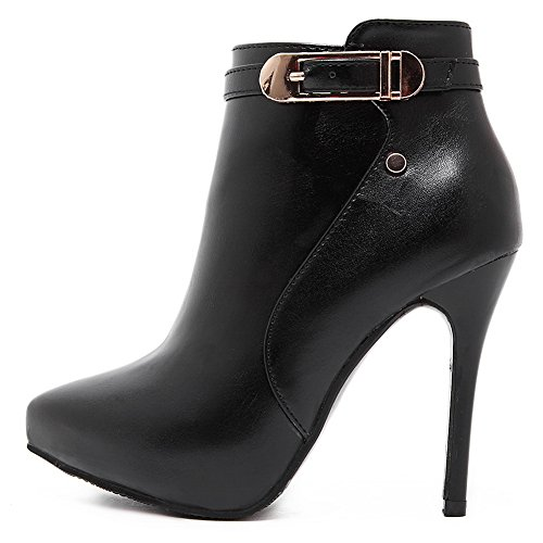 A&N Girls Stiletto Platform Buckle Zipper Imitated Leather Boots Black enaWUTo2I