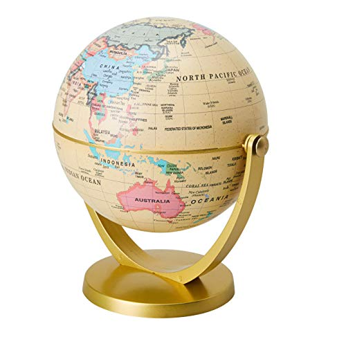 - World Globe - 4-inch Globe of The World with Stand, Spinning Rotating Globe for Kids, Geography Teachers, Parents as Home, Office Desktop Decoration, Educational Tool, Yellow and Gold, 5 inches Tall