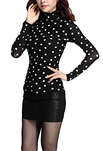(Qunson Womens Warm Casual Polka Dot Long Sleeve Turtleneck Blouse Top Shirt)