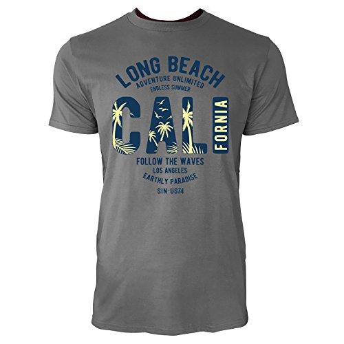 Sinus Art ® Herren T Shirt Long Beach California ( Charcoal ) Crewneck Tee with Frontartwork