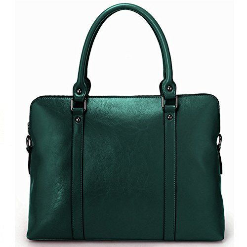 G-AVERIL Genuine Cow Leather Tote Bag Vintage Large Handbag for Women Green Green