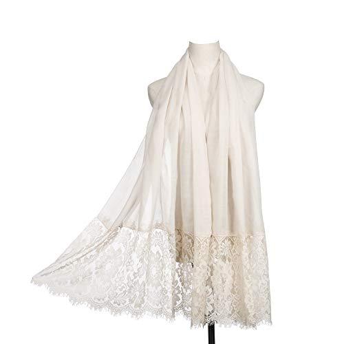 Women Fashion Scarf Wrap Shawl,RiscaWin Autumn Soft Lightweight Lace Scarves Wrap Warm Scarf(Cream)