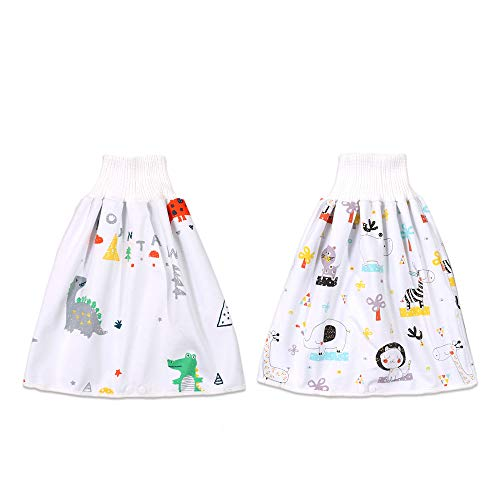 panthem Set van 2 babyluierrokken, wasbare trainingsrok voor baby's, jongens en meisjes, 2-in-1 waterdicht, absorberend…