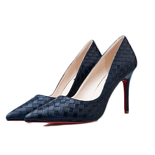 Chaussures Mode Femme Mariage Haute Argent EU UK Nightclub Sexy Cour 9cm 3 Chaussures Party Talons De 35 DarkBlue Travail nrv0Wxrw