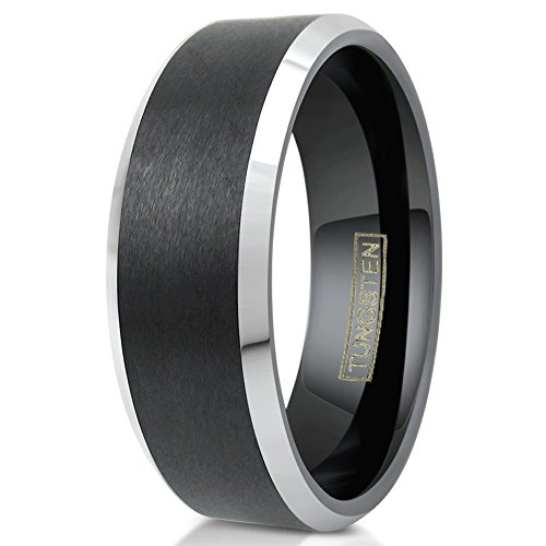 King's Cross Personalized Engraved 6/8mm Brushed Finish Black Tungsten Carbide Wedding Band w/Silver Beveled Edges. (tungsten (8mm), 12.5)