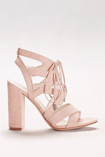 Davids Bridal Faux-Suede Lace-Up Sandals Style APARIS1 Nude I0mPkD1Zp
